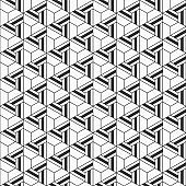 Abstract seamless pattern. Geometric tiles with triple weaving elements.