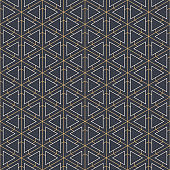 Abstract seamless pattern. Geometric tiles with triple hexagonal elements and triangles.