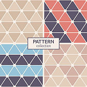 Set of four rounded triangles seamless patterns.