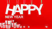 Happy New Year concept with paper cuted on ropes and many and Decorative white gift boxes with red bows and ribbons on red background.