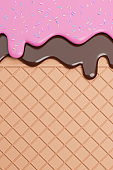 Chocolate and Strawbery Ice Cream Melted with Sprinkles on Wafer Background.