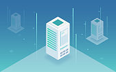 Big data processing, web hosting, server rack, data storage, computing and processing information concept. Server room isometric vector.