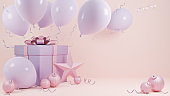 Holiday Christmas and Happy new year pastel pink color background with a gift box and balloon.,3d model and illustration.