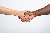Anti racist studio shot of a handshake