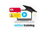 Online Webinar concept, distance education. Live streaming. Online webinar. Video conference. Online training in laptop. Graduation hat on notebook. Video chat, podcast, online course, video lecture