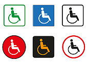Set icons with blue disabled on white background. Old people.Vector icon design for cars and etc.