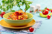 Delicious pepper with minced vegetables.