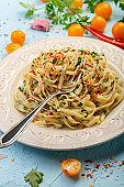 Homemade vegetarian pasta with hot chili.
