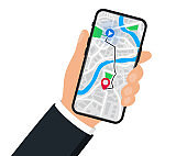 Hand with mobile phone with digital navigation.  Map with point, GPS navigation. Mobile GPS Navigation app on touch screen smartphone for web sites, banners. World Map