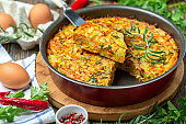 Kugel is a traditional vegetable casserole.