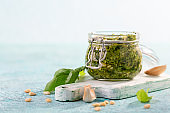 Homemade pesto sauce with fresh basil.