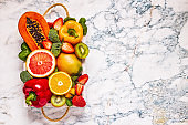 Fruits and vegetables rich in vitamin C in box