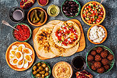 Traditional dishes of Israeli and Middle Eastern cuisine -malavach with different fillings