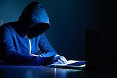 hacker working in computer on dark room