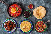 Falafel, hummus, shakshuka, Israeli salad