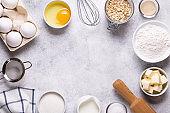 Ingredients for baking  - flour, eggs, salt, sugar, milk