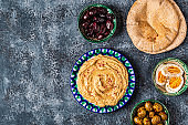 Hummus - traditional dish of Israeli and Middle Eastern cuisine