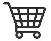 Shopping cart line art web button icon