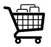 Filled shopping cart symbol icon