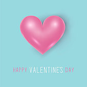 Happy Valentine's Day card blue colored. Love sign pink realistic heart illustration. 10 eps design.