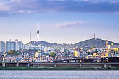 seoul city and Han River in the evening and n seoul tower behind, seoul, south korea.