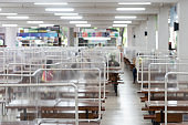 New normal lifestyle in Thailand by using plastic sheets divided public space In the school cafeteria to prevent the spread of covid-19 according social distancing policy