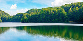 lake among beech forest of vihorlat mountains