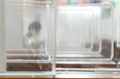 Preventing the spread of Covid-19 coronavirus in schools and universities by using plastic sheets divide the area in the cafeteria for social distance and new normal life policy in Thailand