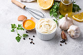 Homemade mayonnaise sauce with ingredient