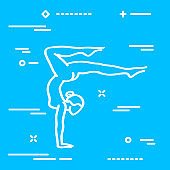 Vector illustration of elegant woman in yoga pose silhouette. Co