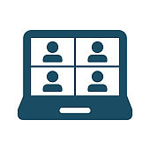 High quality dark blue flat split screen video conference, meeting icon. Pictogram, icon set, bundle. Useful for web site, banner, greeting cards, apps and social media posts.