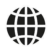flat black modern trend globe worldwide planet icon on white background