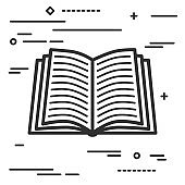Flat Line art design graphic image concept of open book icon a w