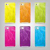set of abstract striped  phone case isolated on grey