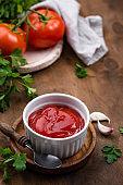 Fresh homemade tomato sauce with garlic