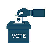 High quality dark blue flat voting hand icon. Vote, election, democracy. Useful for web site, banner, greeting cards, apps and social media posts.