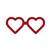High quality red flat glasses icon. Happy valentine's day, love, romance. Useful for social media, interfaces, motion graphics, websites etc.