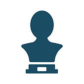 High quality dark blue flat torso sculpture icon. Pictogram, art, memorial. Useful for web site, banner, greeting cards, apps and social media posts.