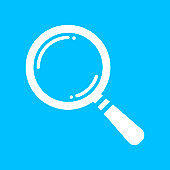 white search icon flat on blue background, search icon design, s