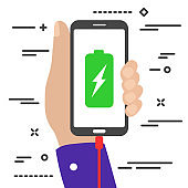 flat minimal hand holding a charging mobile phone with battery and lightning symbols on the screen