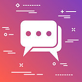 flat chat icon on modern colorful gradient background
