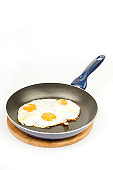 Fried eggs in teflon frying pan over white background