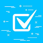 flat checklist or tick icon on a blue background