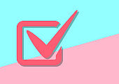 flat modern tick vote checklist icon with shadow on blue and pin