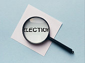 Magnifying glass with the word ELECTION