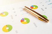 financial charts and graphs close up