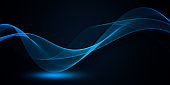 Blue light wave of energy with elegant lines