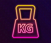 Glowing neon line Weight icon isolated on black background. Kilogram weight block for weight lifting and scale. Mass symbol. Vector