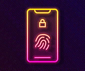 Glowing neon line Smartphone with fingerprint scanner icon isolated on black background. Concept of security, personal access via finger on mobile. Vector Illustration
