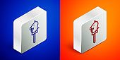 Isometric line Toy horse icon isolated on blue and orange background. Silver square button. Vector